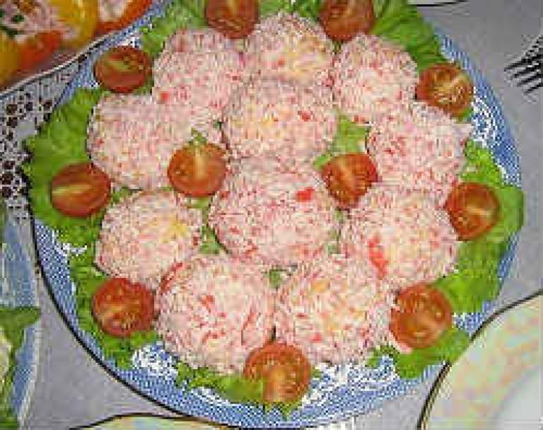 Рецепт салата рафаэлло из крабовых палочек с фото