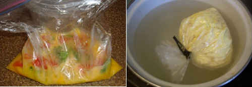 омлет в кастрюле в пакете
