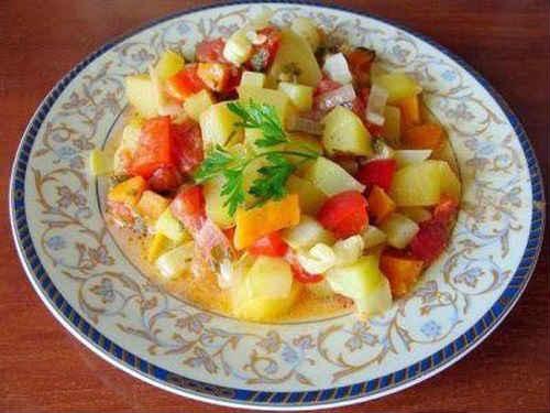 Овощное рагу с баклажанами и кабачками и капустой и мясом