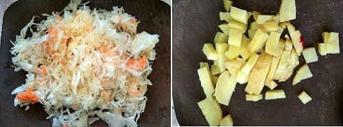 добавьте капусту и картошку