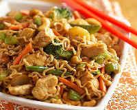 Как приготовить Вок лапшу - рецепт с курицей, соусом терияки, грибами, овощами