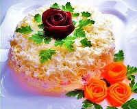 Салат Невеста - рецепт с копченой курицей, плавленым сыром, классический