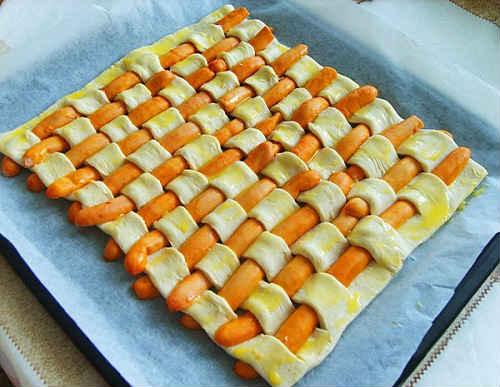 сосиски пирог