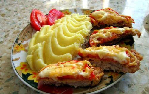 отбивная с сыром