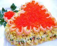 Салаты со слабосоленой семгой - рецепты с красной икрой, креветками, авокадо, царский